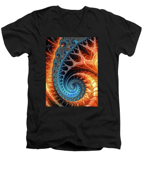Colorful Luxe Fractal Spiral Turquoise Brown Orange Men's V-Neck T-Shirt by Matthias Hauser