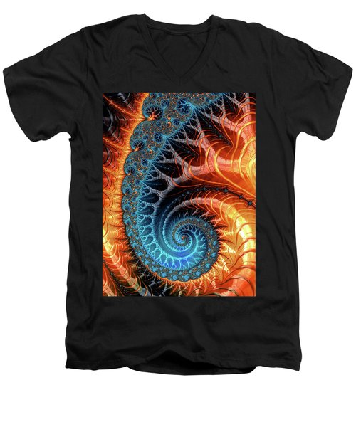 Colorful Luxe Fractal Spiral Turquoise Brown Orange Men's V-Neck T-Shirt