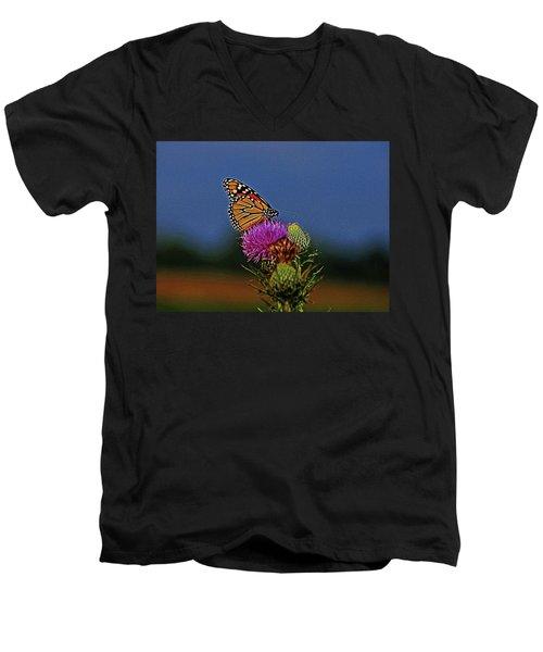 Men's V-Neck T-Shirt featuring the photograph Colorful Monarch by Sandy Keeton
