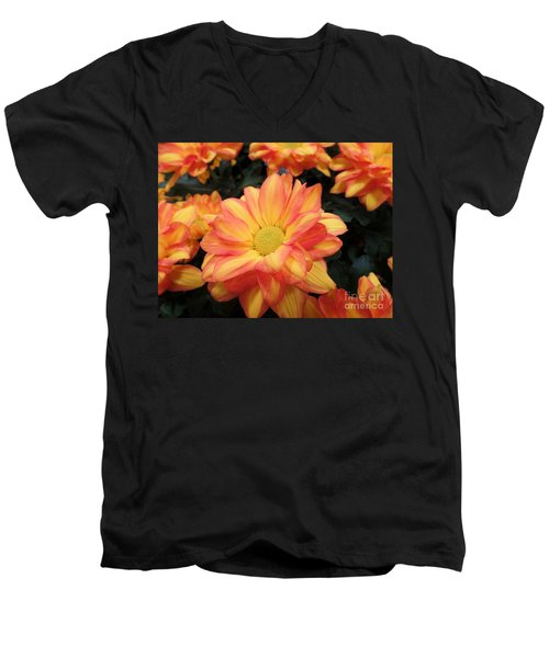 Men's V-Neck T-Shirt featuring the photograph Colorful Mums by Ray Shrewsberry