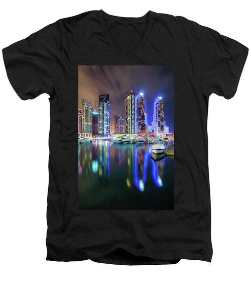 Colorful Night Dubai Marina Skyline, Dubai, United Arab Emirates Men's V-Neck T-Shirt