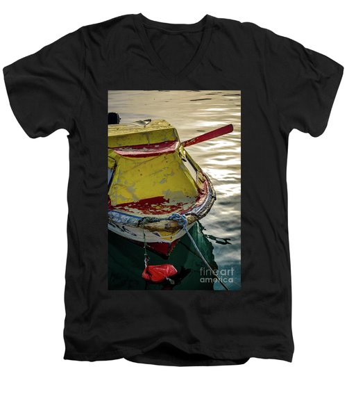 Colorful Old Red And Yellow Boat During Golden Hour In Croatia Men's V-Neck T-Shirt