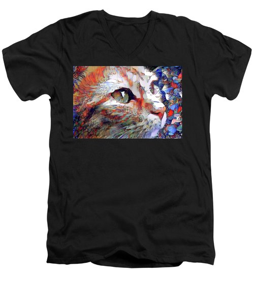 Colorful Orange Cat Art Men's V-Neck T-Shirt