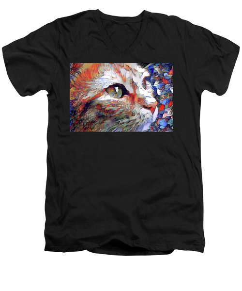 Colorful Orange Cat Art Men's V-Neck T-Shirt