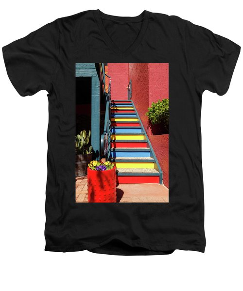 Men's V-Neck T-Shirt featuring the photograph Colorful Stairs by James Eddy