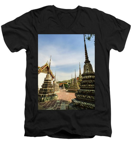 Colorful Stupas At Wat Pho Temple Men's V-Neck T-Shirt