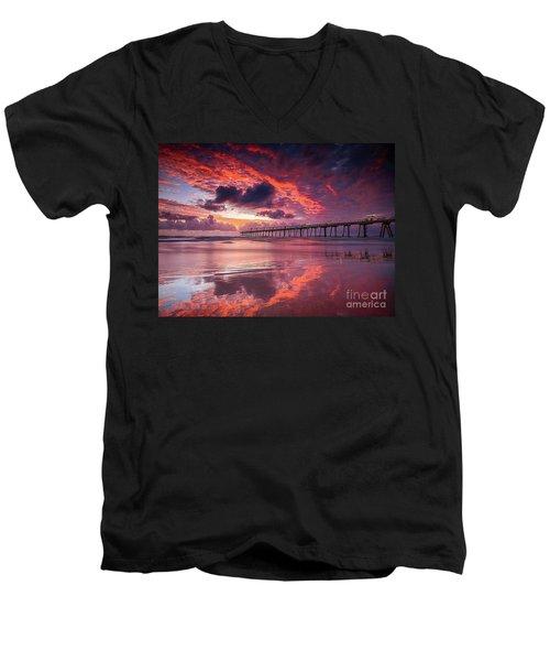 Colorful Sunrise Men's V-Neck T-Shirt by Rod Jellison