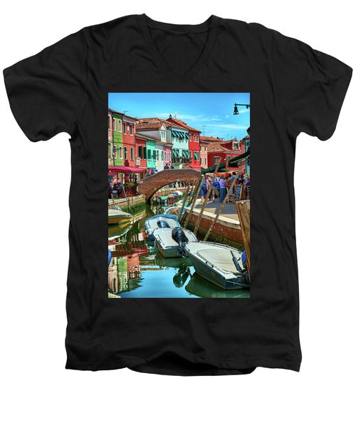 Colorful View In Burano Men's V-Neck T-Shirt