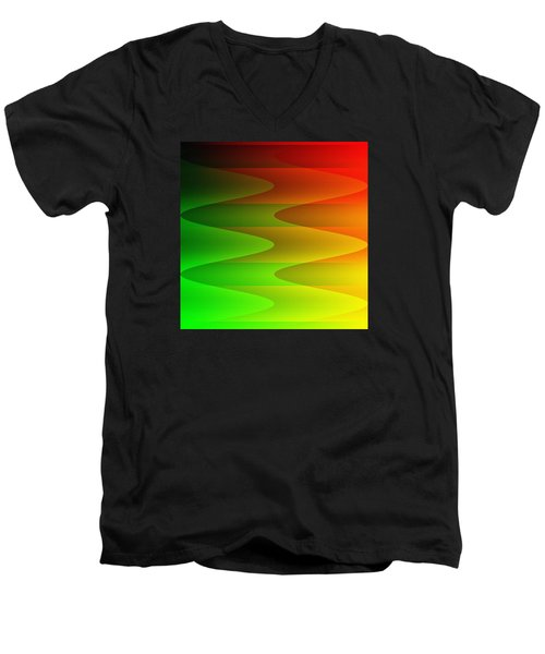 Men's V-Neck T-Shirt featuring the digital art Colorful Waves by Kathleen Sartoris