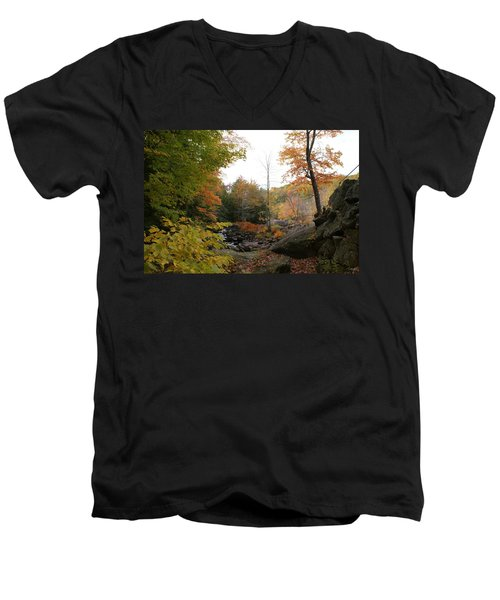 Colors Along The Stream Men's V-Neck T-Shirt by Lois Lepisto