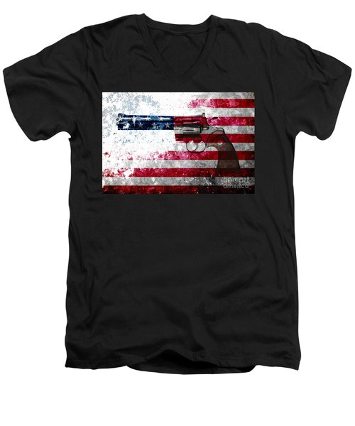 Colt Python 357 Mag On American Flag Men's V-Neck T-Shirt