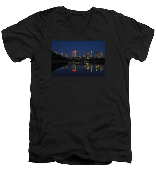 Men's V-Neck T-Shirt featuring the photograph Columbus Night Reflection by Alan Raasch