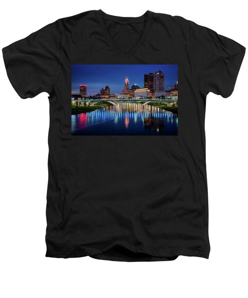 Men's V-Neck T-Shirt featuring the photograph Columbus Ohio Skyline At Night by Adam Romanowicz