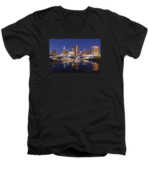 Men's V-Neck T-Shirt featuring the photograph Columbus Skyline Reflection by Alan Raasch