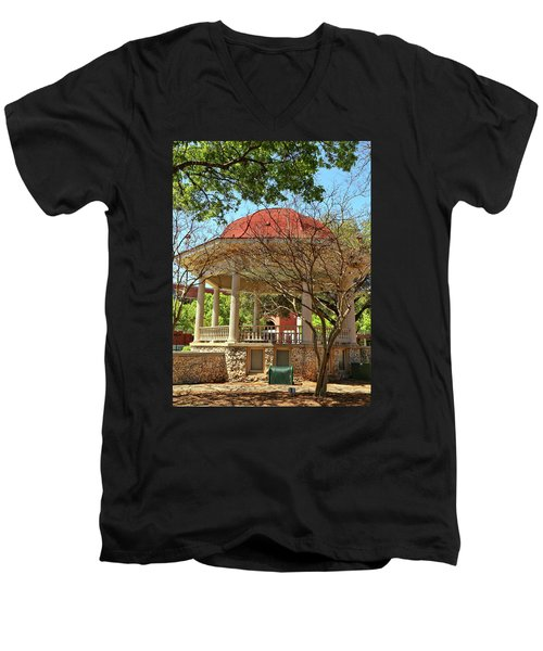 Comal County Gazebo In Main Plaza Men's V-Neck T-Shirt by Judy Vincent