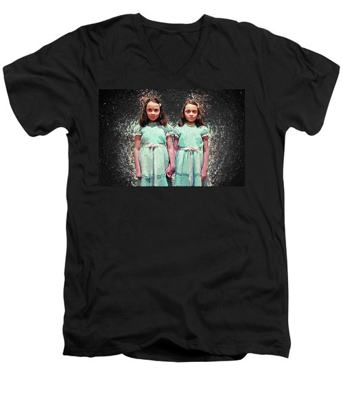 Come Play With Us - The Shining Twins Men's V-Neck T-Shirt by Taylan Apukovska