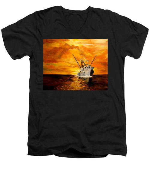 Men's V-Neck T-Shirt featuring the painting Coming Home by Alan Lakin