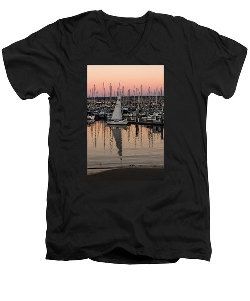 Men's V-Neck T-Shirt featuring the photograph Coming Into The Harbor by Lora Lee Chapman