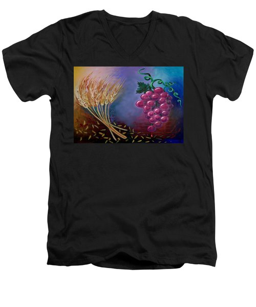 Men's V-Neck T-Shirt featuring the painting Communion by Kevin Middleton