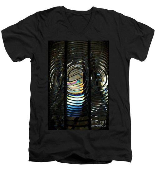 Concentric Glass Prisms - Water Color Men's V-Neck T-Shirt by Linda Shafer