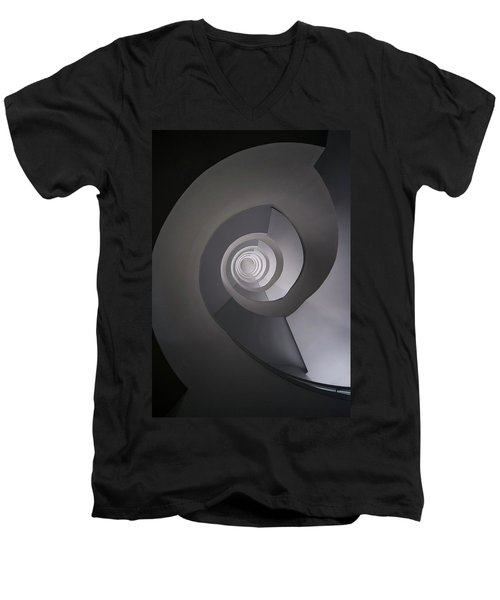 Men's V-Neck T-Shirt featuring the photograph Concrete Abstract Spiral Staircase by Jaroslaw Blaminsky