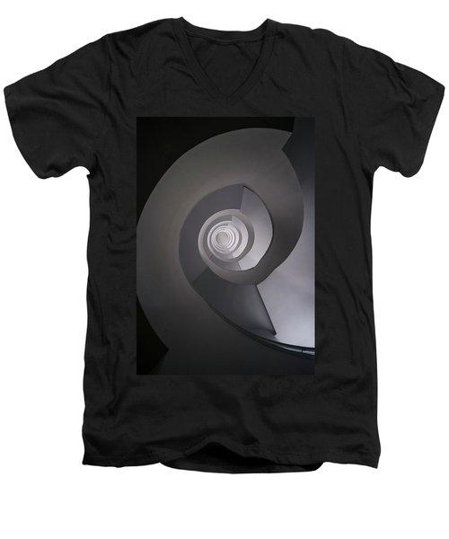 Concrete Abstract Spiral Staircase Men's V-Neck T-Shirt by Jaroslaw Blaminsky