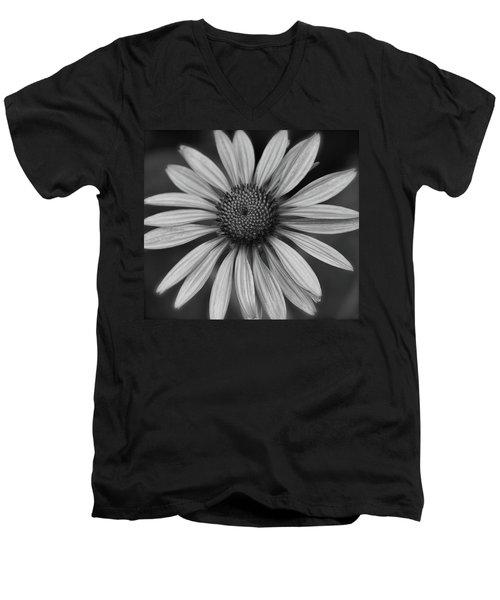 Coneflower In Black And White Men's V-Neck T-Shirt