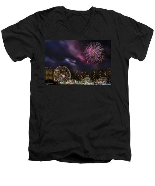 Coney Island Fireworks Men's V-Neck T-Shirt