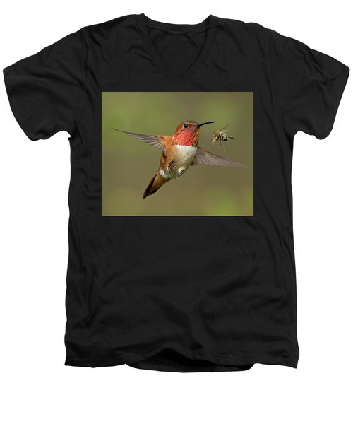 Confrontation Men's V-Neck T-Shirt by Sheldon Bilsker
