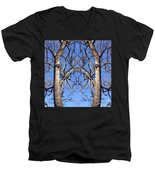 Conjoined Tree Collage Men's V-Neck T-Shirt by Nora Boghossian