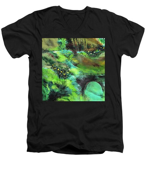 Men's V-Neck T-Shirt featuring the painting Connect by Anil Nene