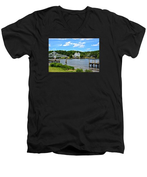 Connecticut River - Swing Bridge - Goodspeed Opera House Men's V-Neck T-Shirt