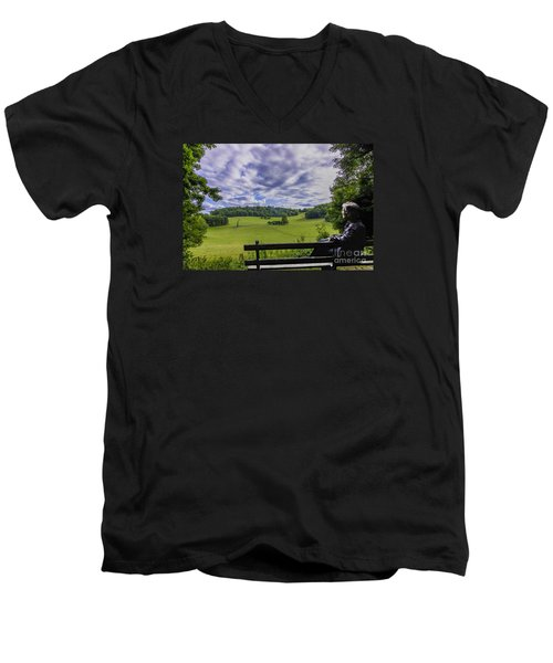Contemplating The Beautiful Scenery Men's V-Neck T-Shirt