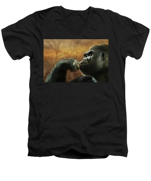 Men's V-Neck T-Shirt featuring the photograph Contemplation by Lori Deiter