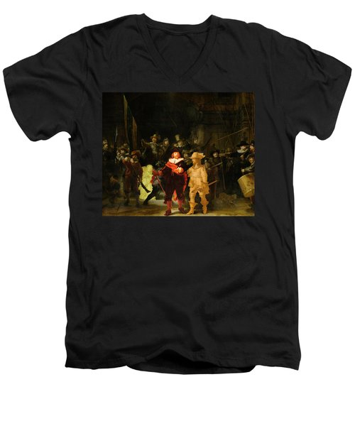Contemporary 1 Rembrandt Men's V-Neck T-Shirt by David Bridburg