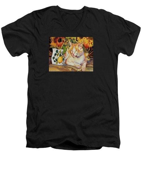 Contentment Men's V-Neck T-Shirt by Bob Coonts