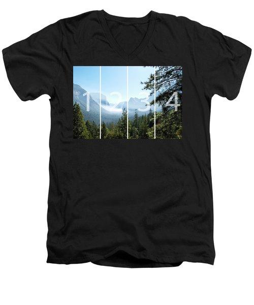 Controlled Burn Of Yosemite Panoramic Map Men's V-Neck T-Shirt by Michael Bessler