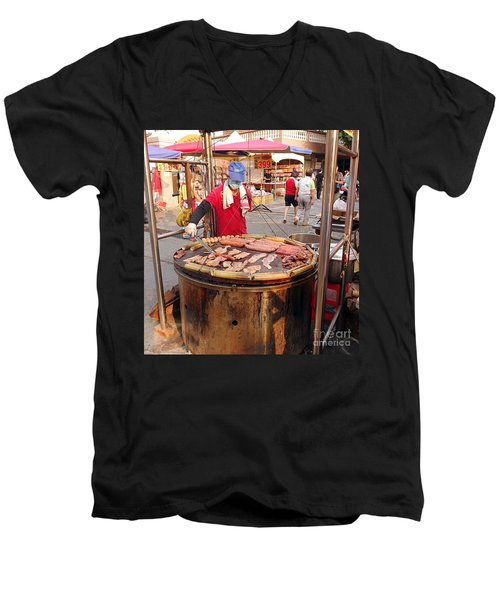 Men's V-Neck T-Shirt featuring the photograph Cooking Meat And Eggs On A Huge Grill by Yali Shi