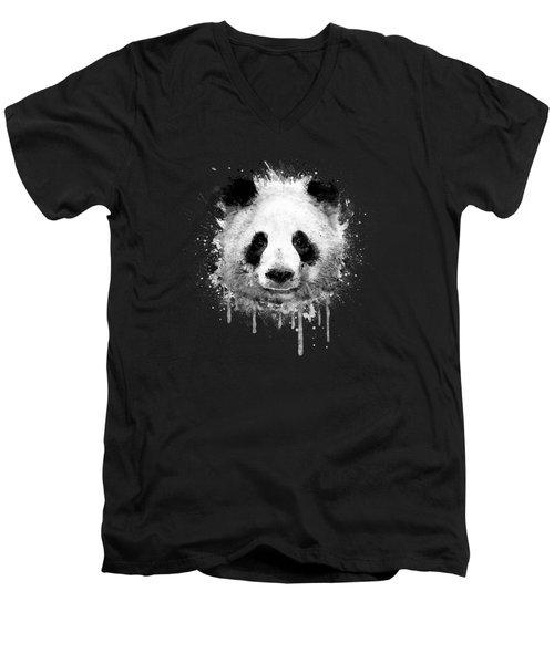 Cool Abstract Graffiti Watercolor Panda Portrait In Black And White  Men's V-Neck T-Shirt