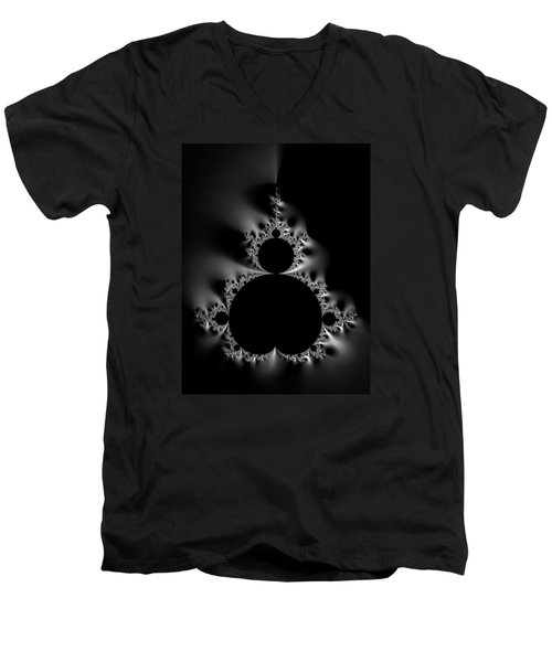 Cool Black And White Mandelbrot Set Men's V-Neck T-Shirt by Matthias Hauser