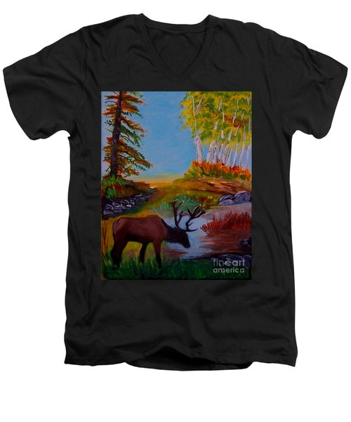 Men's V-Neck T-Shirt featuring the painting Cool Drink by Leslie Allen