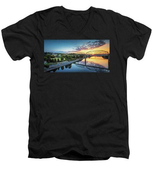 Coolidge Park Sunrise Panoramic Men's V-Neck T-Shirt by Steven Llorca