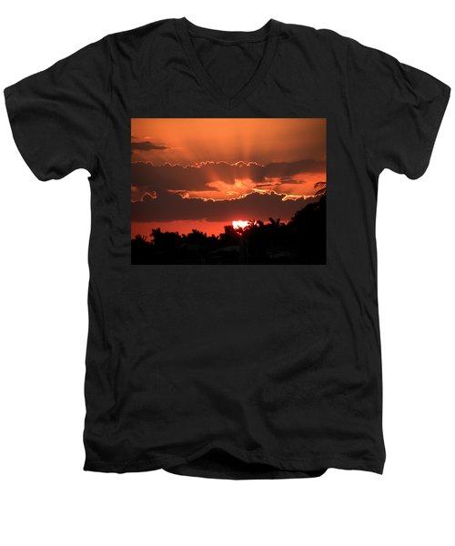 Copper Sunset Men's V-Neck T-Shirt by Rosalie Scanlon