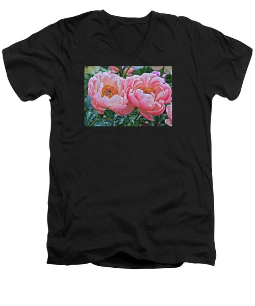 Coral Duo Peonies Men's V-Neck T-Shirt by Janis Nussbaum Senungetuk