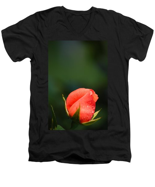 Coral Rose On Green Men's V-Neck T-Shirt by Debbie Karnes
