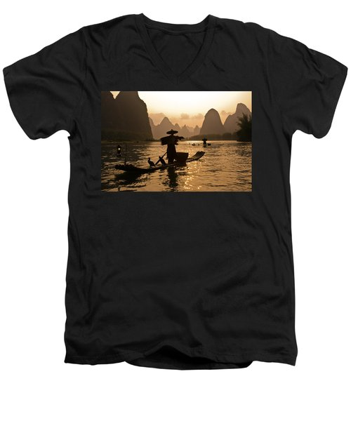 Cormorant Fisherman At Sunset Men's V-Neck T-Shirt