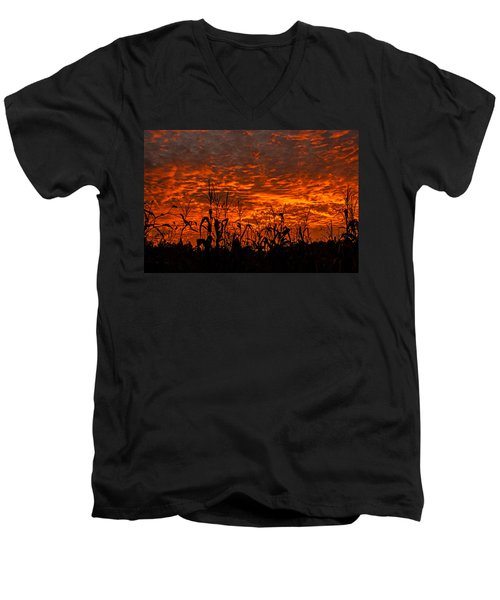 Corn Under A Fiery Sky Men's V-Neck T-Shirt by John Harding