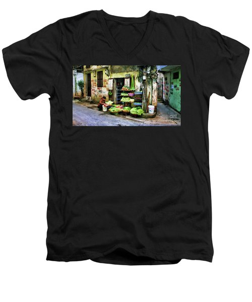Corner Fresh Veggies Vietnam  Men's V-Neck T-Shirt by Chuck Kuhn