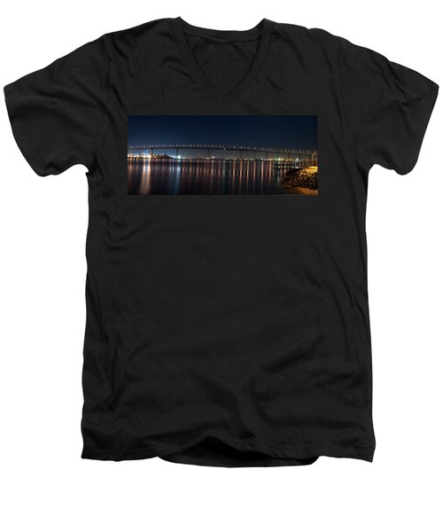 Coronado Bridge San Diego Men's V-Neck T-Shirt by Gandz Photography
