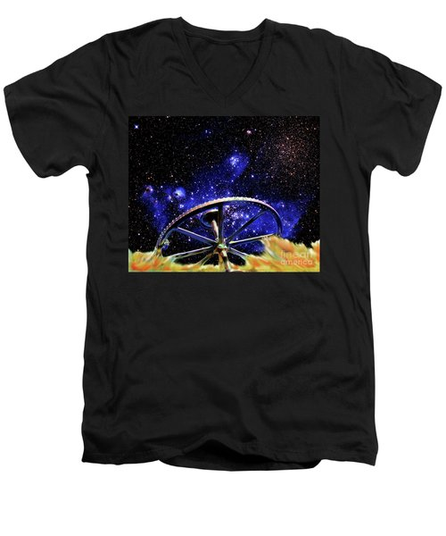 Men's V-Neck T-Shirt featuring the photograph Cosmic Wheel by Jim and Emily Bush
